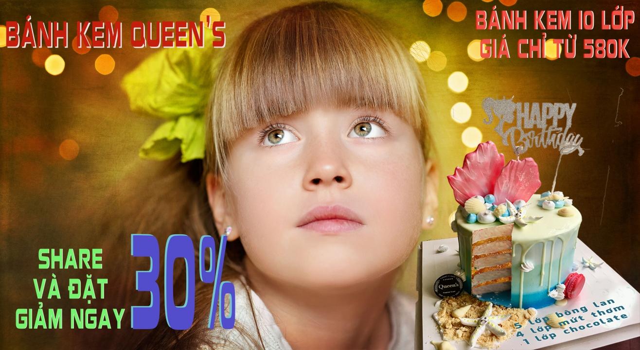Chương trình gom đơn giảm giá 30% cho dòng bánh kem 10 lớp cao cấp từ Queen's