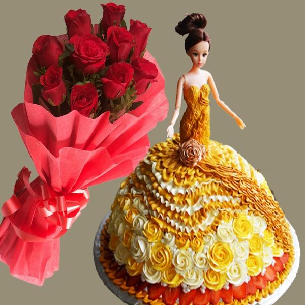 Combo công chúa size váy 32cm và hoa hồng