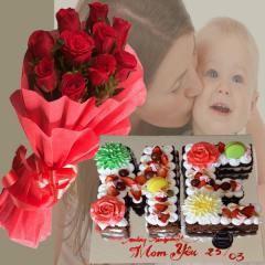 Combo Bánh kem chữa Mẹ 34cm x 23cm và hoa hồng